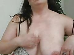 Pale dark haired momma with huge boobs masturbates with her sex toys