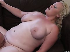 Blonde fatty rides married man's cock