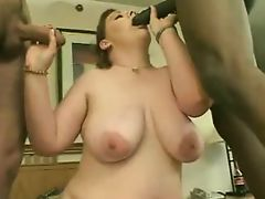 Brunette BBW threesome