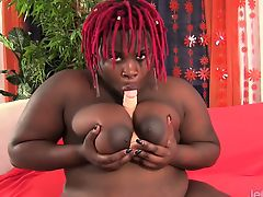 Ebony plumper shows her juicy boobs and fat ass Later she